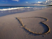 beach sand water heart