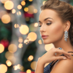 people, holidays and glamour concept - beautiful woman in evenin